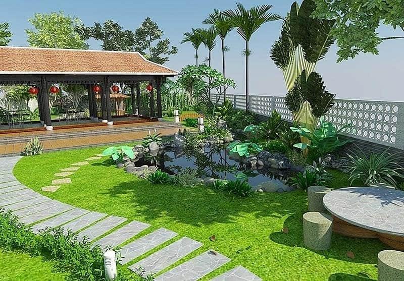 sân vườn đẹp trước nhà